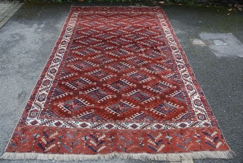 antique yomud turkmen main carpet central asia
