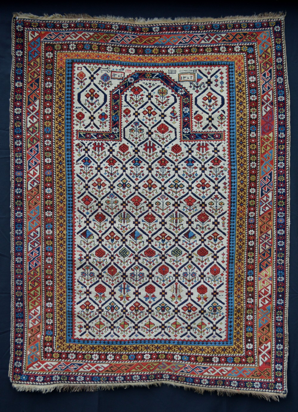 antique prayer rug daghestan eastern caucasus