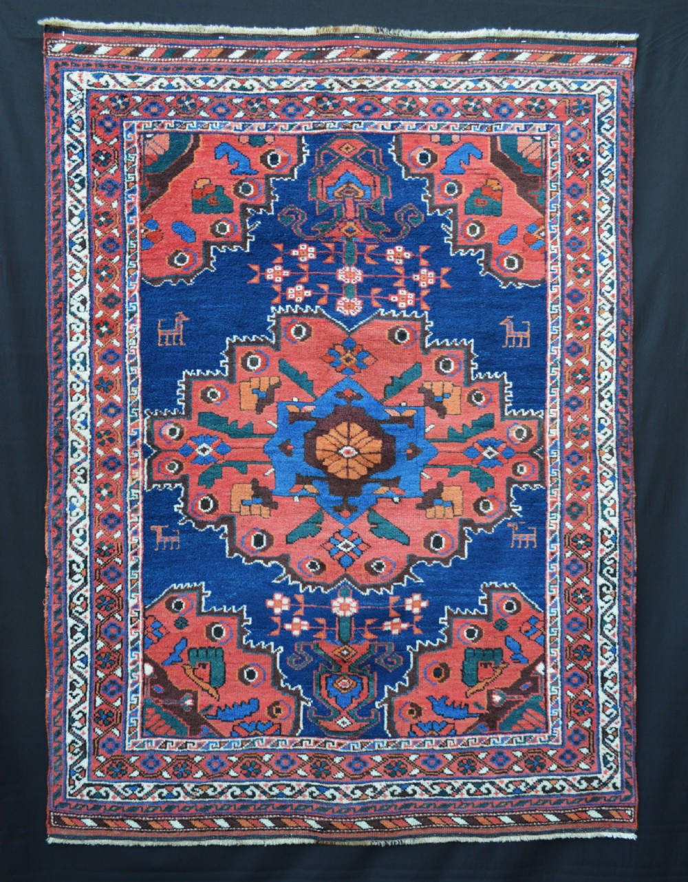 antique afshar tribal rug neiriz region kerman province south persia