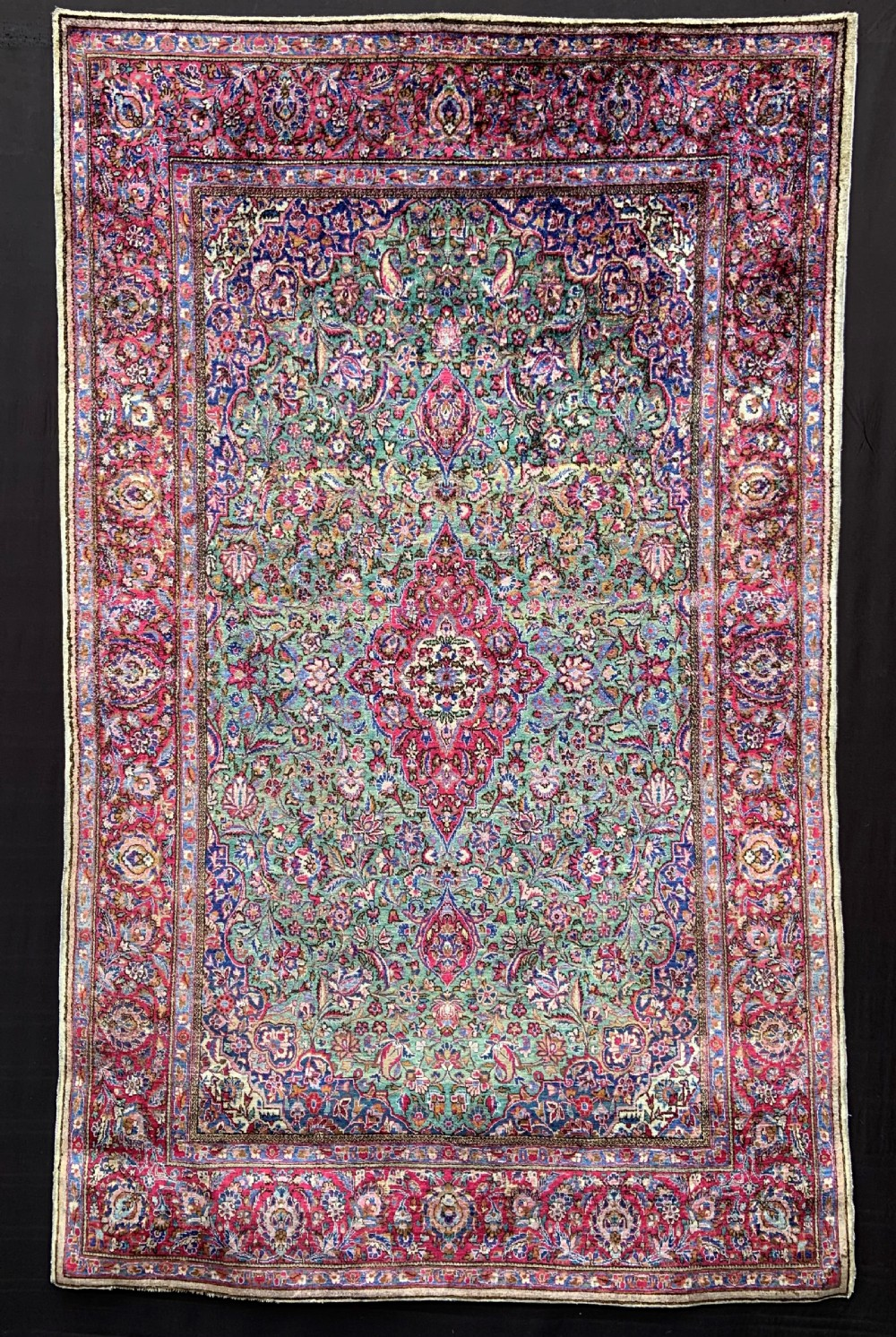 antique silk kashan rug kashan central persia